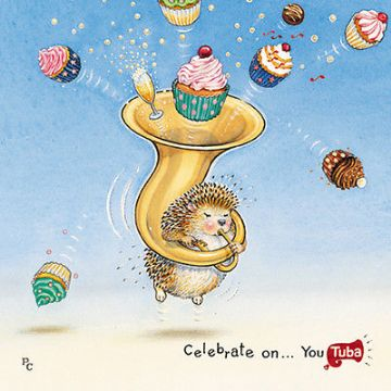 "BLANK CARD ""HEDGEHOG WITH TUBA/CAKES"" LARGE SQUARE SIZE 6.25"" x 6.25"" PCII 0086"